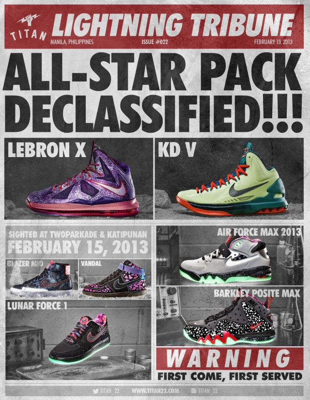 9320ff439d0d TITAN announces a release of Nike Basketball s 2013 All-Star Collection of  the Lebron X and KD V plus Nike Sportswear s  Area 72  pack.